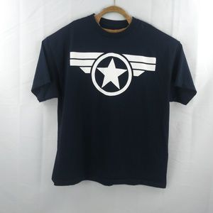 Marvel Mens 2XL Black T Shirt Captain America Logo